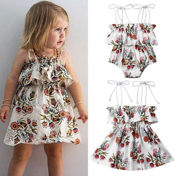 US STOCK Little/Big Sister Baby Girl Kids Floral Romper Dress Matching Outfits