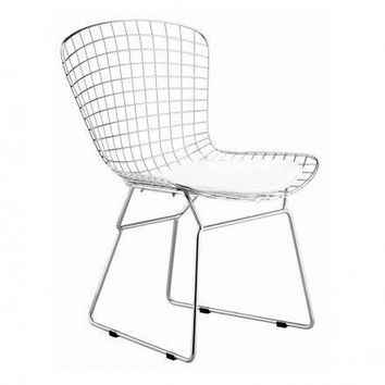 Chrome Wire  Chair | White