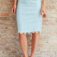 Gardenia Lace Pencil Skirt - Blue