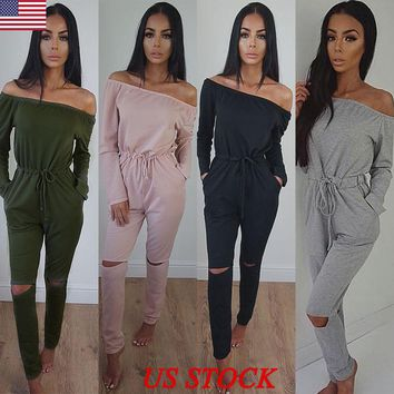 US Womens Off Shoulder Long Sleeve Ripped Playsuits Ladies Casual Long Jumpsuit