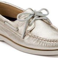 Sperry Top-Sider Authentic Original Metallic 2-Eye Boat Shoe PlatinumGold, Size 9.5M  Women's Shoes