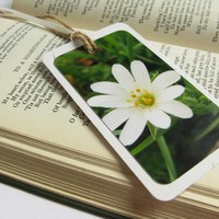 White Bloom Photo Gift Tag Bookmark | Luulla