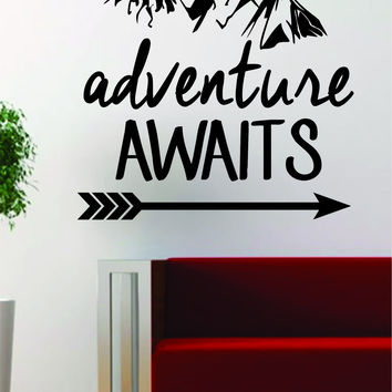 Adventure Awaits Version 2 Mountains Arrow Design Decal Sticker Wall Vinyl Art Decor Travel