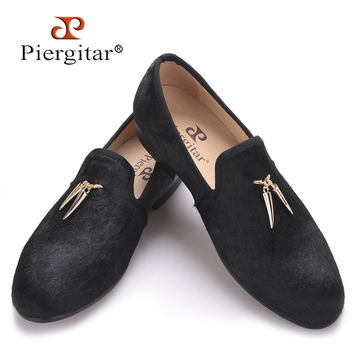 New style horsehair men shoes with metal Shark tooth shape tassel smoking slipper party and prom men