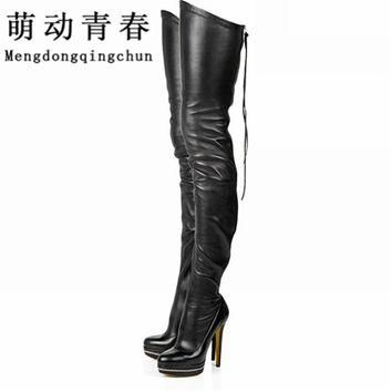 2017 Women Boots Stretch PU Leather Over The Knee High Sexy Ladies Party High Heels Pl