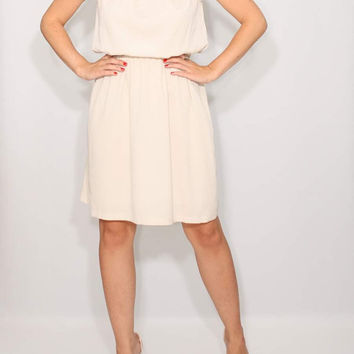 Light beige Dress Short Bridesmaid Dress Chiffon Dress Keyhole dress