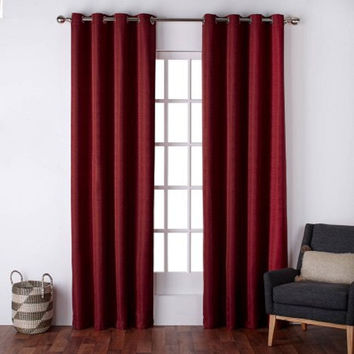 "Silk Grommet Top Window Curtain Panels, 54"" x 96"", Chili (2)"