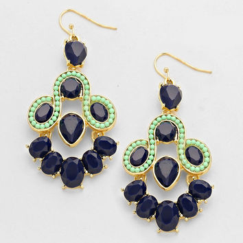Mckensie Chandelier Evening Earrings Navy Blue