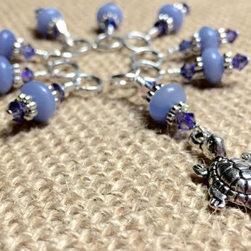 Turtle Knitting Stitch Marker set - Snag Free Beaded Stitch Markers - Gifts for Knitters - Knitting Jewelry - Tools - Crochet Markers