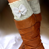 BOW Legwarmers - Knitted, Light Gray, Wool , Thick, Crochet, Lace Trim, Christmas Gift,