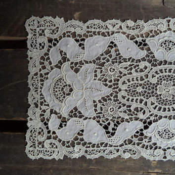 3 Vintage Linens Doilies Linens and Lace Crochet Home Decor Shabby Farmhouse Housewares Wedding Ivory Dresser Scarves