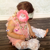Coral pink Silk Flower clip on Lace Headband -Photo Prop - Baby Girl Headband - Toddler Headband - Adult Headband -