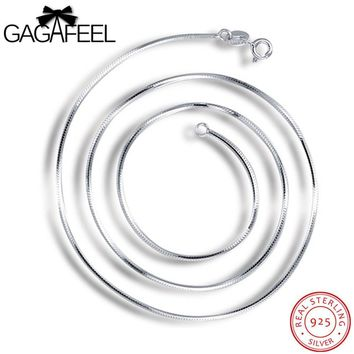 GAGAFEEL 100% 925 Real Sterling Silver Men Jewelry Unisex 1MM Snake Chain Necklaces for Pendant Parents Lover Gifts UN009