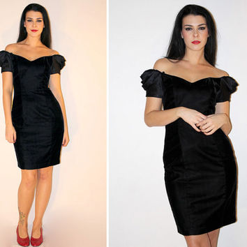 Vintage VELVET Dress, Off the Shoulder Little Black Dress, 80s Mini Cocktail Dress, Sexy Flirty Party Dress