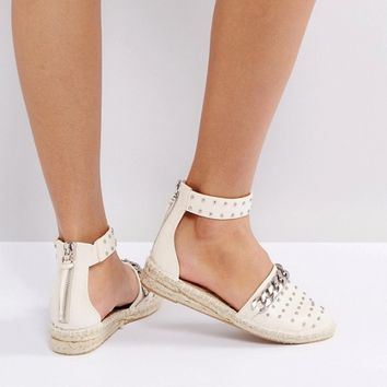 ASOS JUST A MINUTE Chain Studded Espadrilles at asos.com