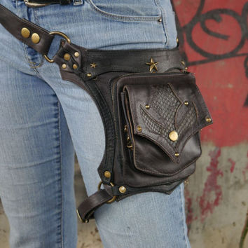 Black and Antique Brass OR Silver Steampunk Leather Holster Bag Utility Belt Bag