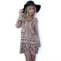 Static Tribe Embroider Shift Dress