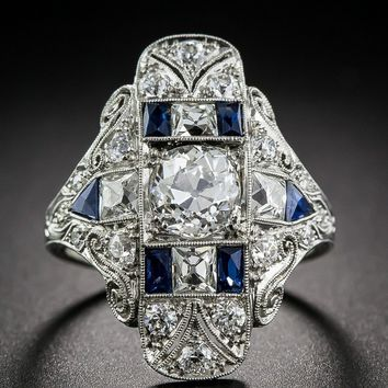 1.25 Carat Art Deco Imitation White Blue Sapphire Floral Engagement Wedding Dinner Ring