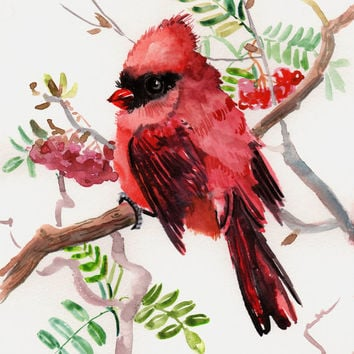 Cardinal bird, Whimsical original wateroclor painting, kids wall art, children art,