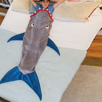Cute Mermaid Tail Blanket For Kids Camping Youth Fleece Sleeping Bag For 3-12 Years Old Boys And Girls