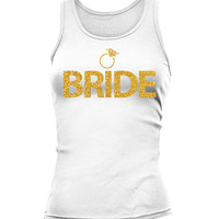Bride Tank Tops With Gold Ring