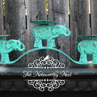 Elephant candle holder // iron candle holder // metal candle holder // candle holder // housewarming gift // shabby decor