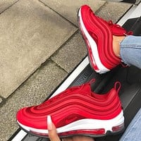 NIKE AIR MAX 97 Classic Popular Women Men Casual Running Sport Couple Shoes Sneakers Red I/A
