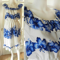 Vintage 60s Royal Hawaiian Floral Dress, Blue & White Floral Print Hibiscus Dress S
