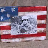 Handmade distressed block picture frame; patriotic american flag; for 4x6 or 5x7 photo; red, white, and blue