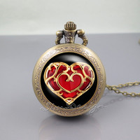 life Zelda heart container Pocket Watch Locket Necklace,legend of Zelda heart,vintage pendant Pocket Watch Locket   Necklace