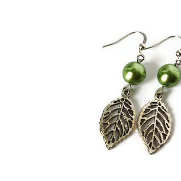 Apple Green Beaded Earrings with Glass Pearls and Leaf Charm on Nickel Free Hooks. Charms Earrings.