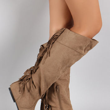 Qupid Suede Back Fringe Asymmetrical Round Toe Knee High Boot