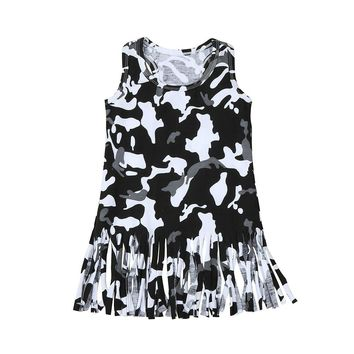 2017 New Camouflage Printing Princess Party Clothes Baby Kids Dresses for Girls Sleeveless Dress Casual Sundress Summer Dresses