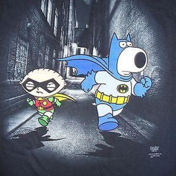 STEWIE AND BRYAN ARE BATMAN AND ROBIN  --FAMILY GUY T SHIRT--  T-SHIRT LICENSED