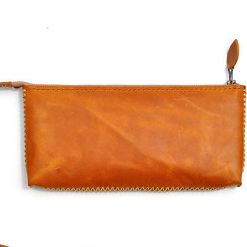 Tan Leather Clutch handbag wallet