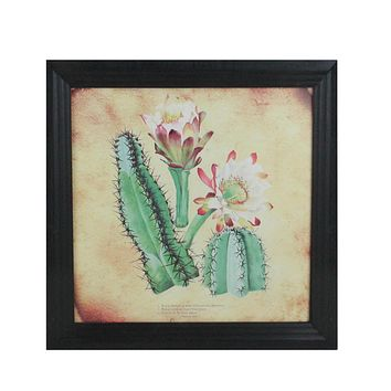 """12""""  Black and Green Cactus and other Desert Plants Surrounded by Black Photo Frame"""