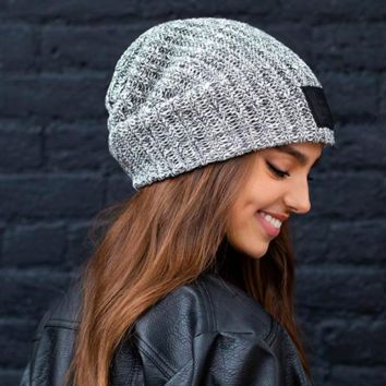 Love Your Melon Black Speckled Beanie (Black Leather Patch)