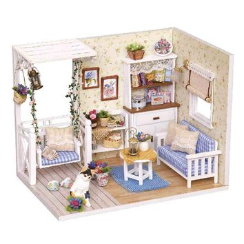 Doll House Furniture Diy Miniature Dust Cover Wooden Miniaturas Dollhouse For Child Birthday Christmas Gifts Toys Kitten Diary