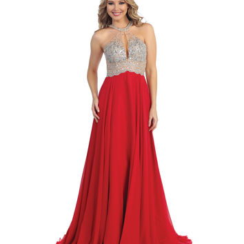 Red & Nude Beaded Halter Open Back Long Dress 2015 Homecoming Dresses
