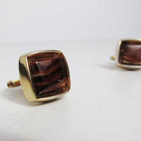 Vintage Cuff Links: Hickok Gold tone with Tiger's Eye