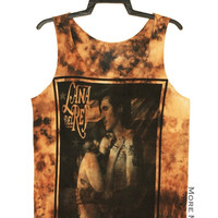 Lana Del Rey Tie Dye Black Brown No Sew Singlet Vest Tunic Tank Top Sleeveless Shirt Women Indie Singer Pop Rock T-Shirt Size M-L