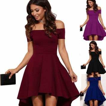 Women S-2XL vintage Summer Elegant Party Burgundy Slash Neck Off Shoulder Skater Dress Formal Holiday Casual Evening Party Dress Pluse Size