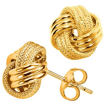 10k Yellow Gold Shiny And Textured Triple Row Love Knot Stud Earrings, 10mm