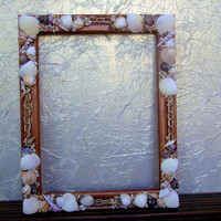 Hand Painted Metallic Bronze Wood Picture Frame Embellished With Sea Shells and Chain, Rustic, Beach Decor, Nautical Theme