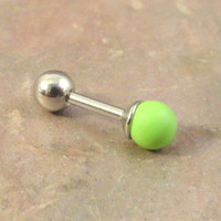 16 Gauge Lime Green Howlite Cartilage Earring Tragus Helix Piercing You Choose Stone Size