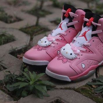 CREYON3A Womens Air Jordan 6 Retro High Hello Kitty Basketball Shoes Pink