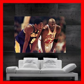 kobe bryant vs michael jordan wings mosaic basketball legend chicago bulls huge mega poster cool artwork for house decorating  number 1