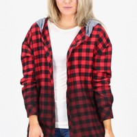 Open Front Buffalo Plaid Hooded Flannel {Red/Black}