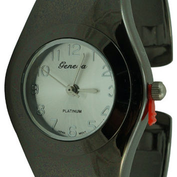 Ladies Geneva Round Mid Size Smooth Shine Bangle Cuff Watch - Gun Metal
