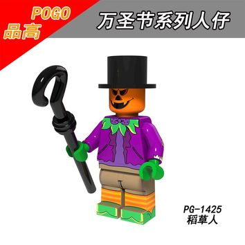 Single Sale PG1425 Halloween Ghost Festival Scarecrow Wedding ghosts Pumpkin Vampire Witch Zombie Toy doll for children Building